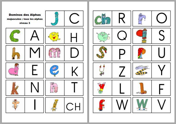 Les Dominos Des Alphas   Alpha Alpha, Alphas, Apprendre encequiconcerne Domino Des Lettres