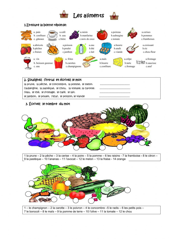 Les Fruits Et Les Légumes Interactive Worksheet destiné Fruits Et Legumes Vocabulaire