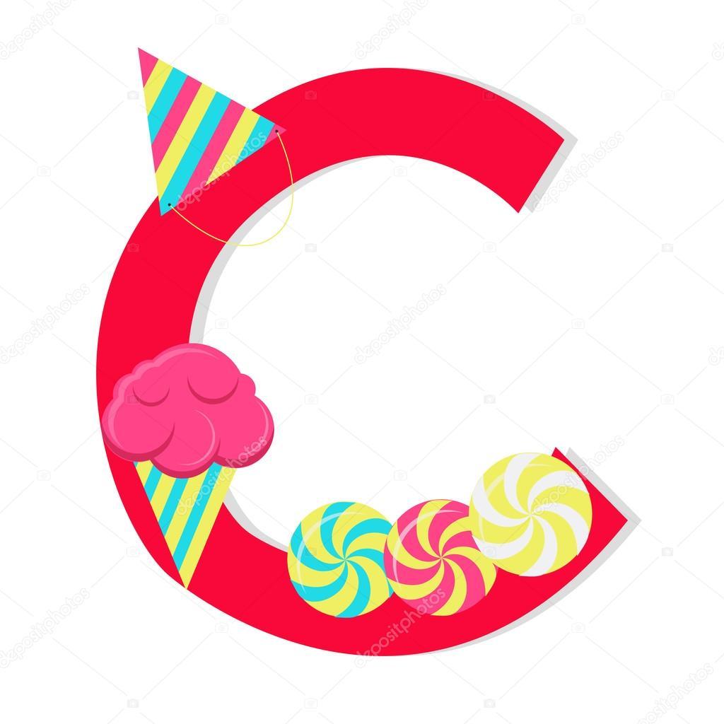 """Lettre """"C"""" De L'Alphabet Stylisé Avec Des Bonbons Image dedans Image Lettre C"""