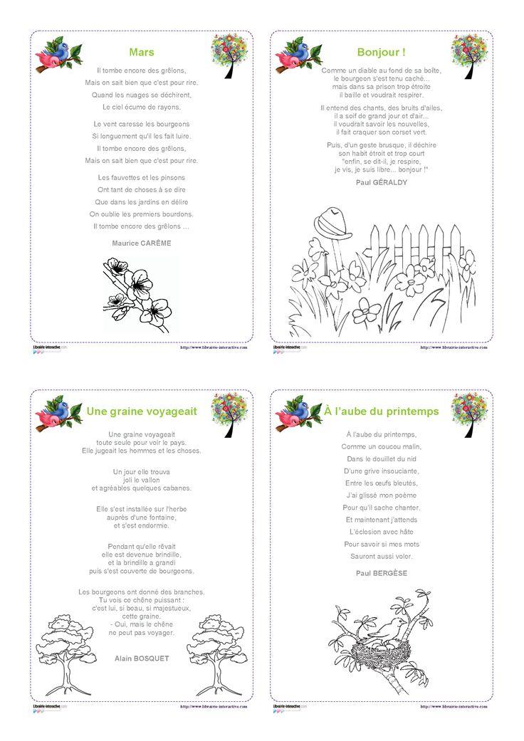 Librairie-Interactive - 12 Poésies Pour Le Printemps avec Poésie Le Printemps