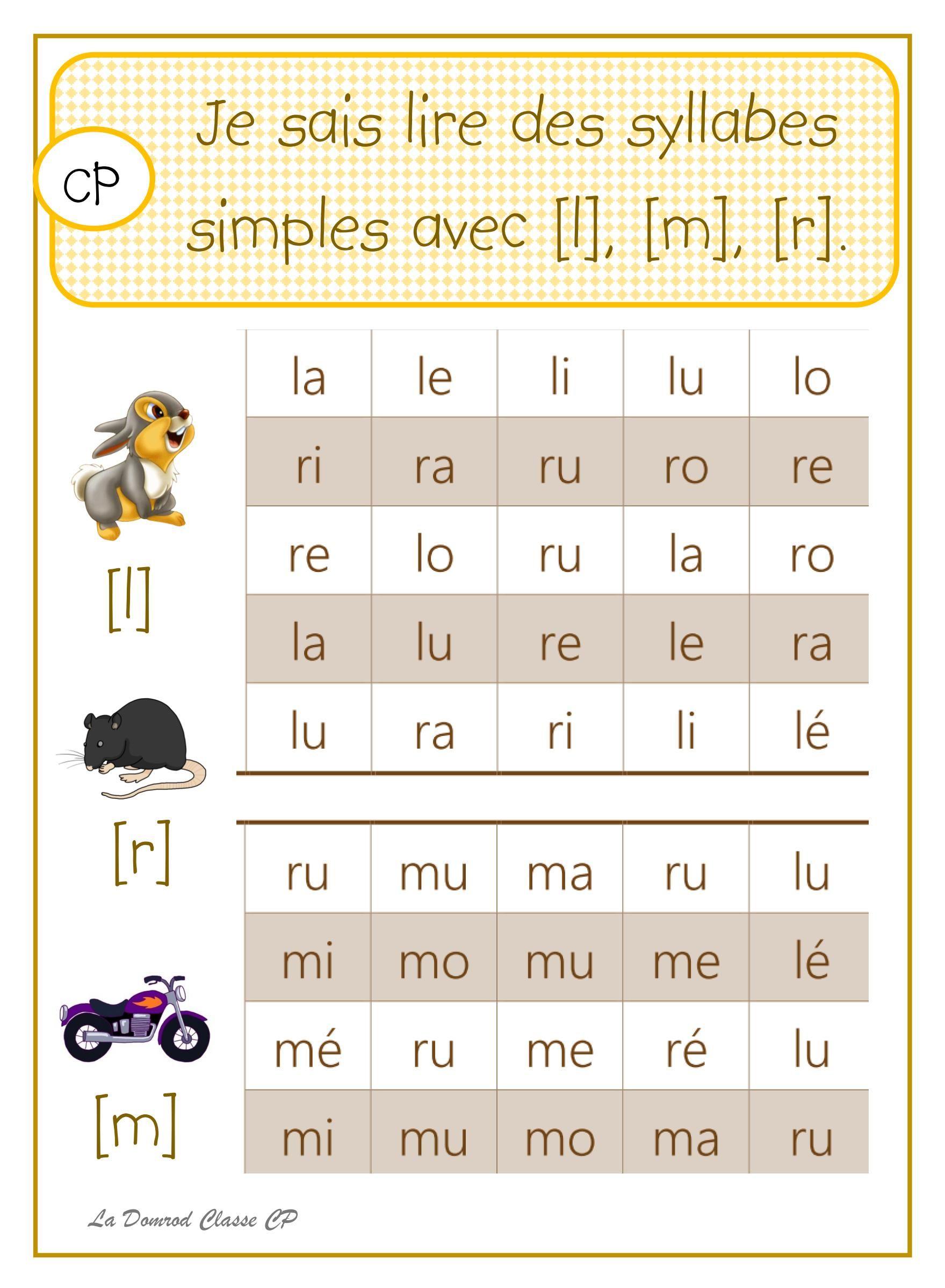 Lire Des Syllabes Simples   Education And Literacy, French pour Francais Facile Maternelle
