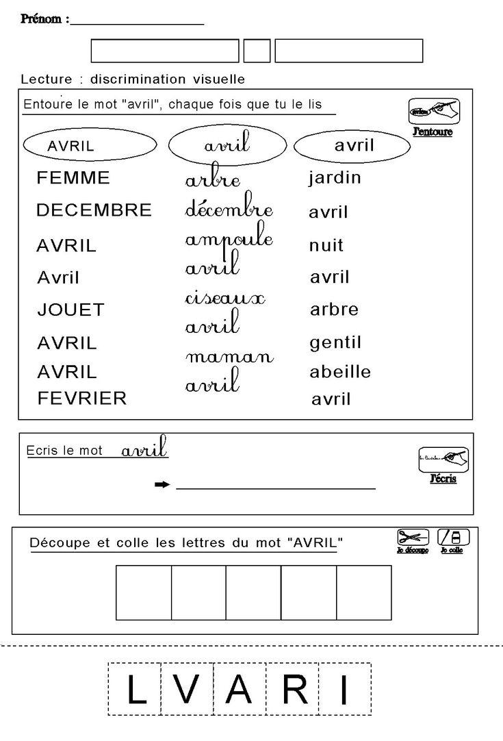 Lire Ecrire Entourer Decouper Coller Les Lettres Du Mo à Exercice De Lecture Maternelle Grande Section