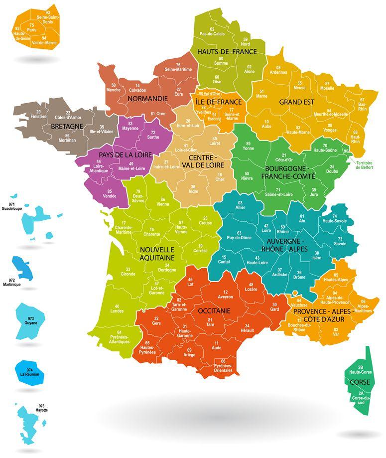 Liste Des Régions & Départements Français √ 2020 Cartes pour France Avec Département