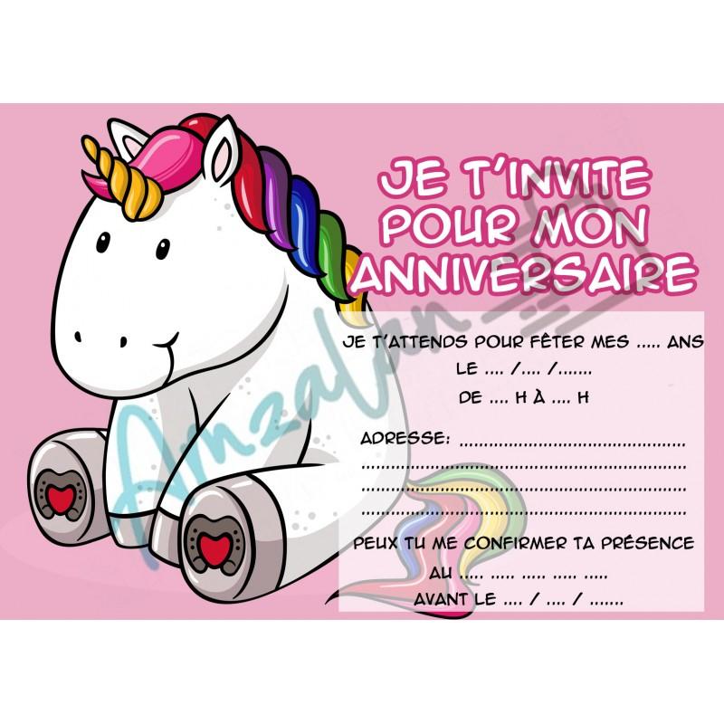 Lot De 6 Cartes Invitations Anniversaire Enfant Licorne V5 dedans Modele Carton Invitation Anniversaire Gratuit