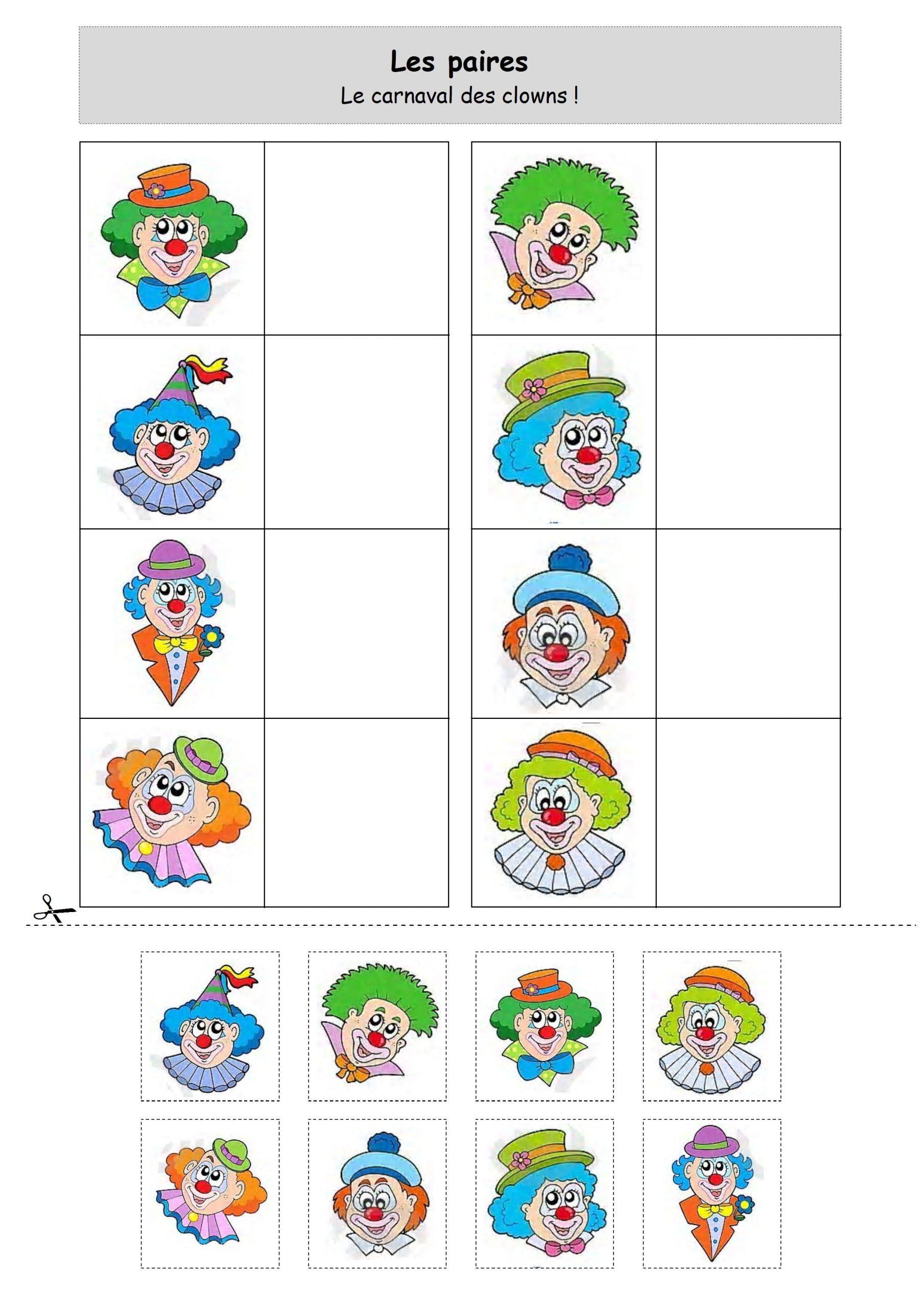 Loto Clown | Carnaval Maternelle, Carnaval, Activité Carnaval destiné Theme Carnaval Maternelle