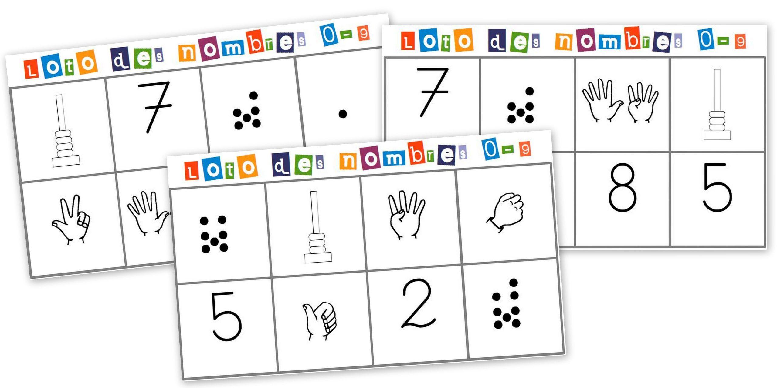 Loto Des Nombres, Diverses Représentations | Jeux concernant Jeux Avec Des Nombres