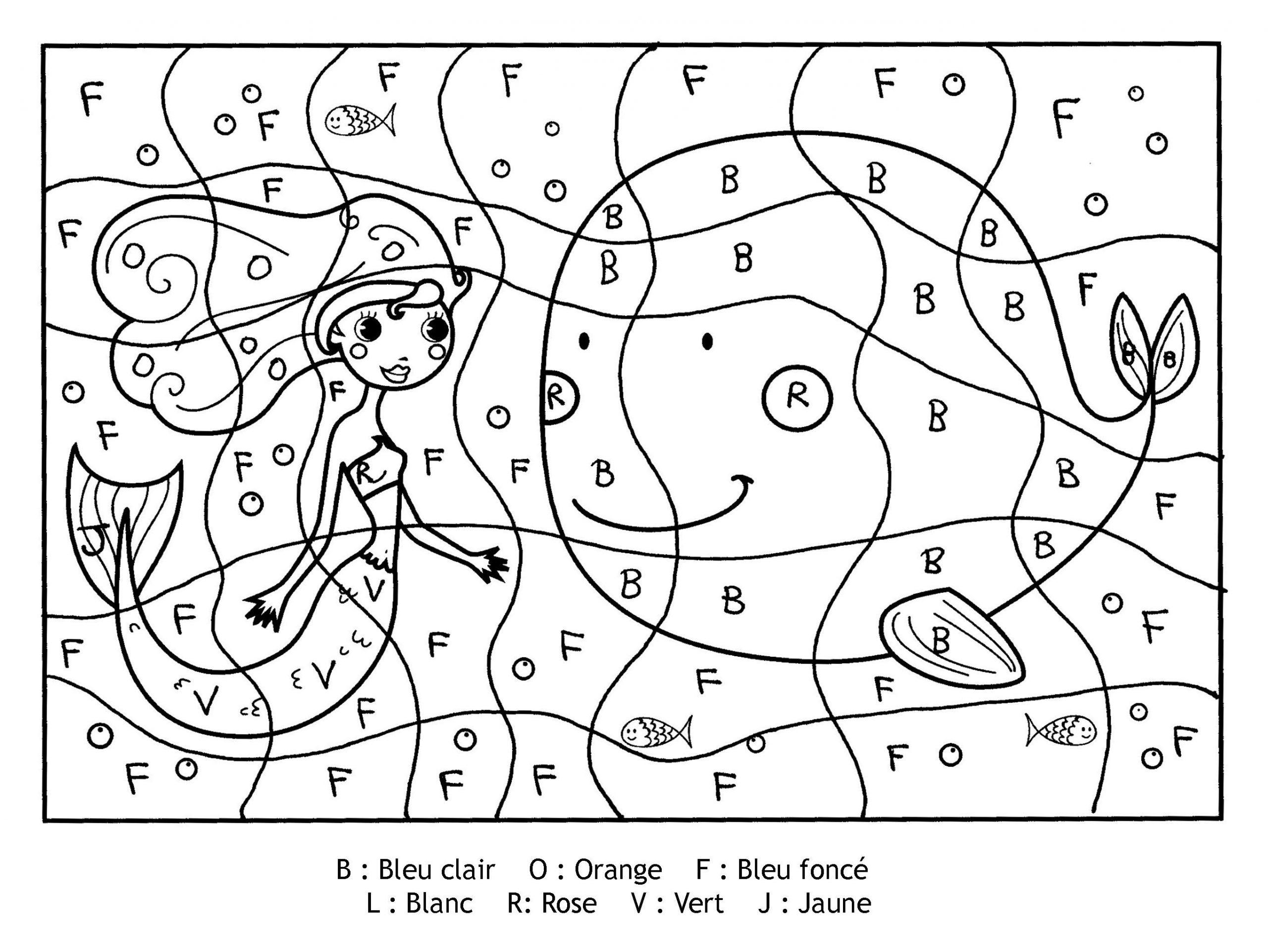 Magique Lettres Sirene - Lettres | Coloriage Magique destiné Coloriage Magique Maternelle Grande Section