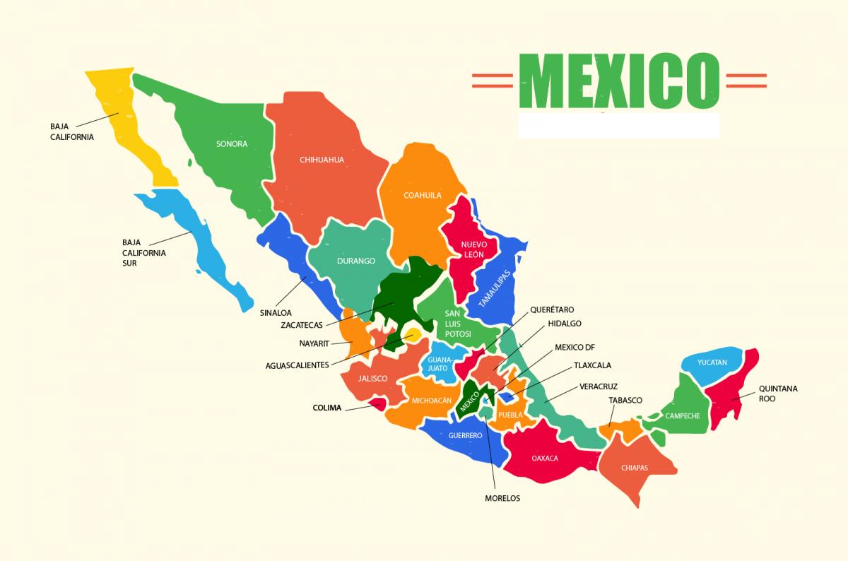 Mapa De México: Político, Regiones, Relieve, Para Colorear dedans Nombre De Region