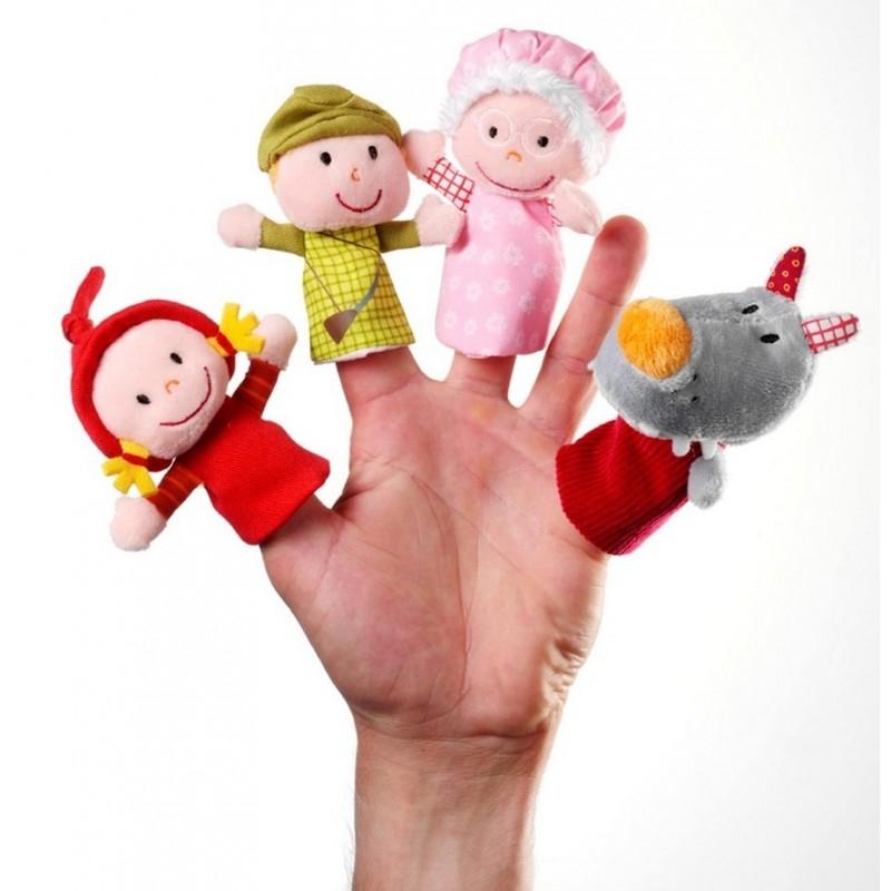 Marionnettes À Doigts Le Petit Chaperon Rouge Lilliputiens avec Un Sifon Fon Les Petite Marionnette