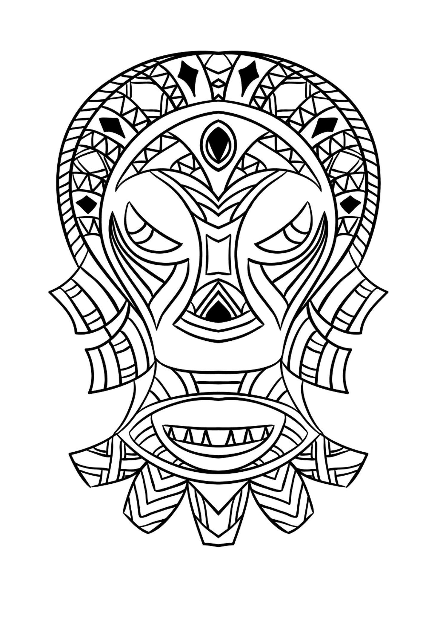 Masque Africain 4 - Coloriages Afrique - Just Color intérieur Dessin Africain A Colorier