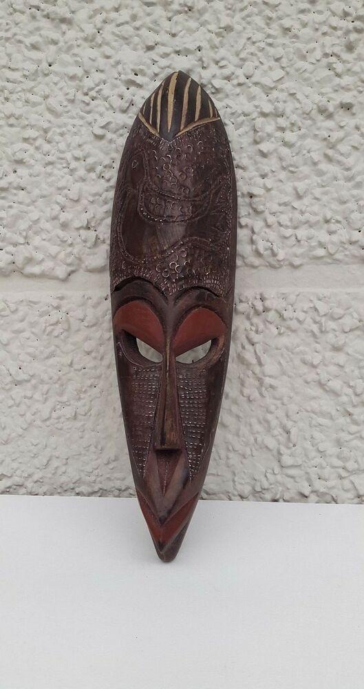 Masque Africain Décoratif En Bois Et Métal A2 | Ebay pour Masques Africains À Fabriquer