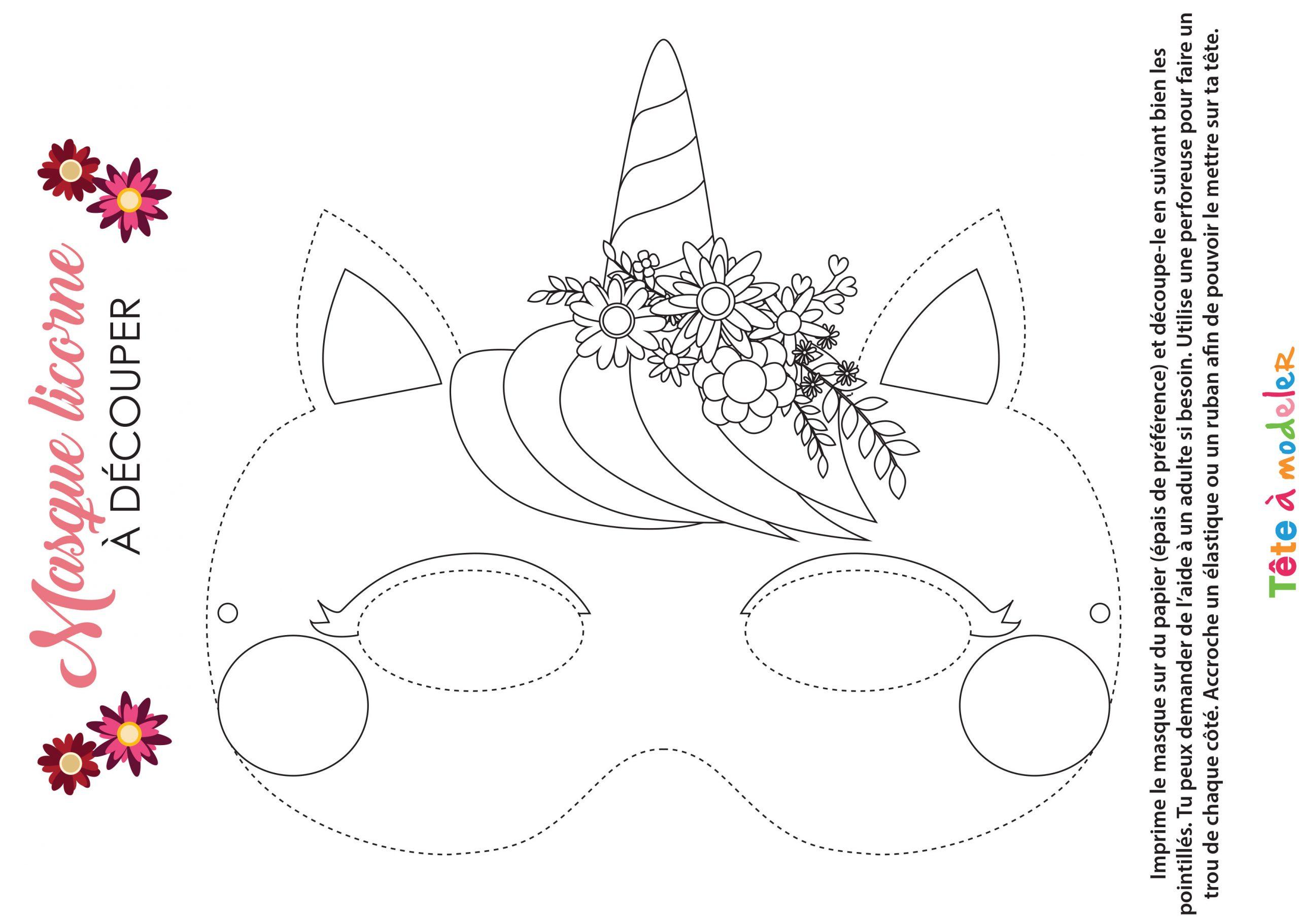 Masque De Licorne À Colorier Avec Tête À Modeler concernant Dessin A Decouper