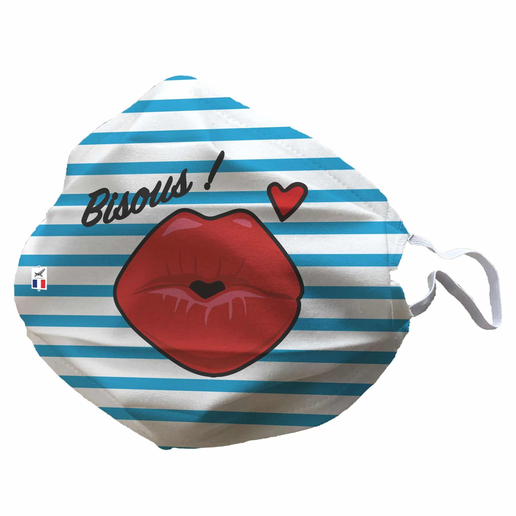 Masque Tissu Bisous Covid-19 Original Décoré Avec Motif D serapportantà Bisous Sur Le Nez