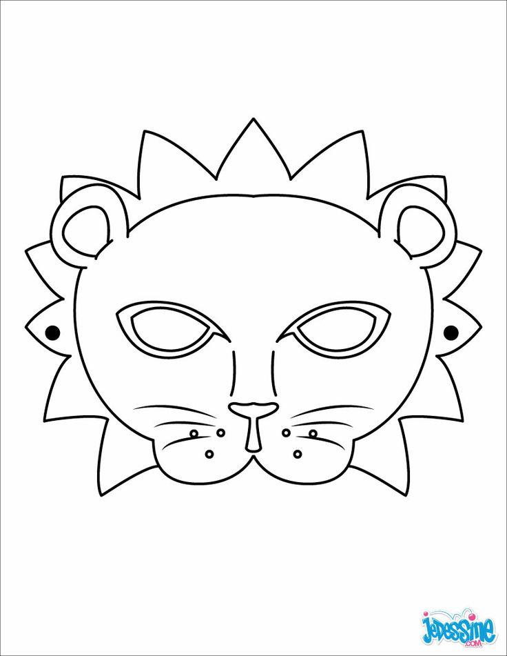 Masques à Colorier - Masque De Lion   Masque Lion, Masque tout Masques Animaux À Imprimer