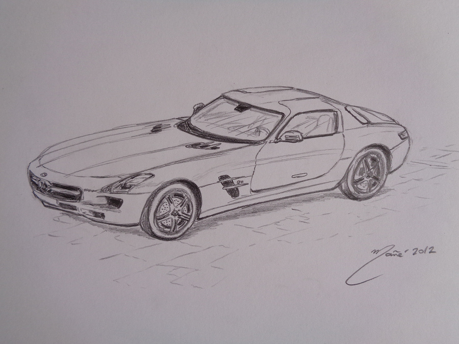 Mercedes-Benz Sls Amg De 2012. Dessin Au Crayon Par Joan à Dessin Voiture Mercedes