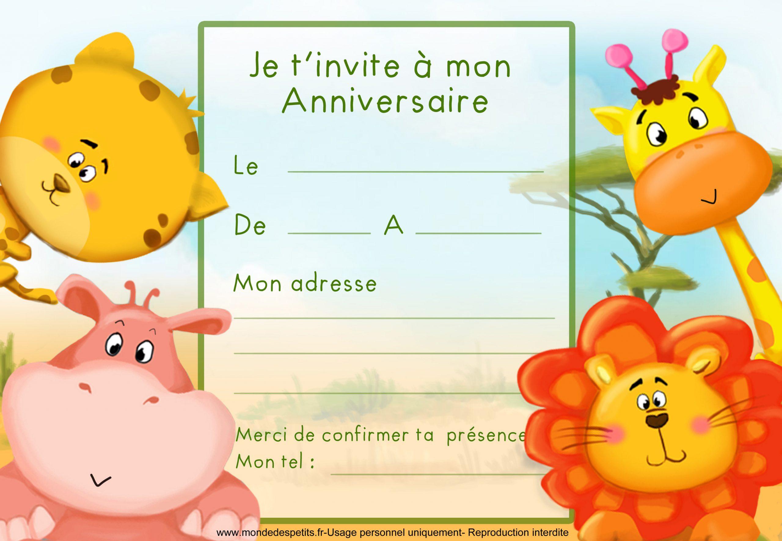 Monde Des Petits - Par Thème tout Modele Carton Invitation Anniversaire Gratuit