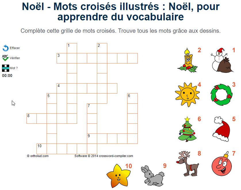 Mots Croisés Illustrés : Noël, Pour Apprendre Du serapportantà Jeux Mots Croisés En Français