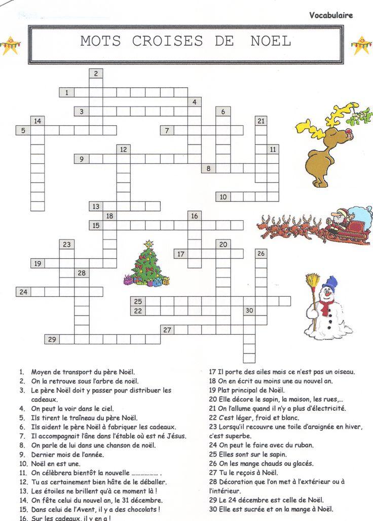 Mots Croisés, Mots Cachés Sur Noel | Mots De Noël, Noel encequiconcerne Jeux De Mot Croiser