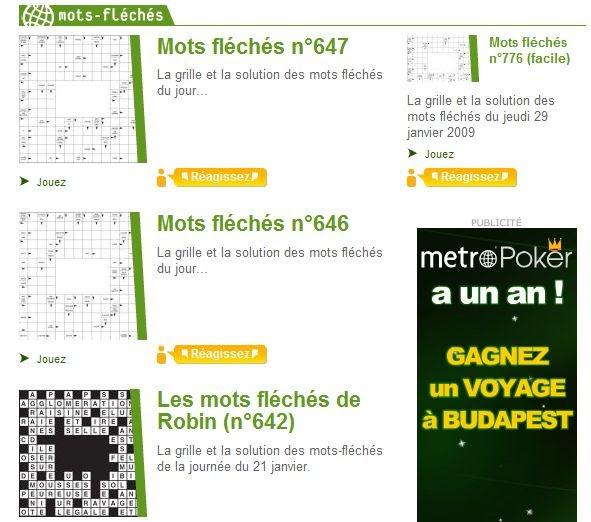 Mots-Fléchés Metro En Ligne (Grilles + Solutions) - Mots encequiconcerne Mots Fleches Solution
