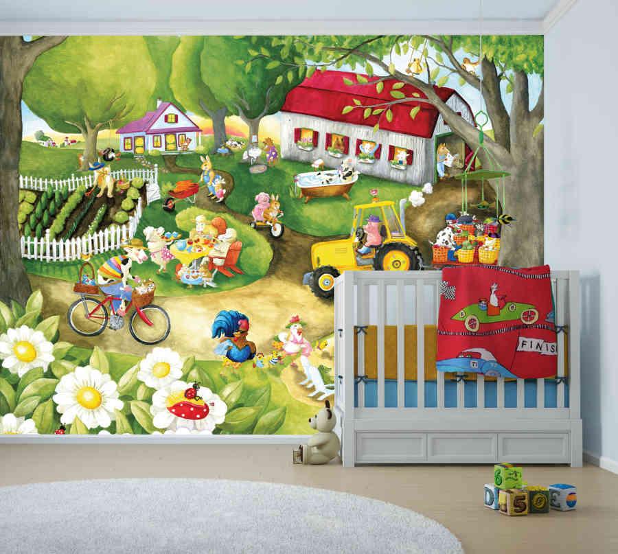 Murale En Papier Peint La Ferme De Mathurin | Muralunique avec La Ferme De Mathurin Paroles