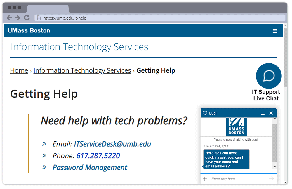 New: Live Chat For It Support - University Of serapportantà Livre Chhht