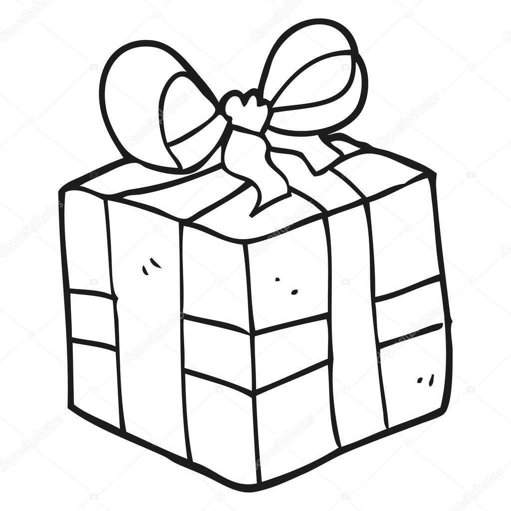 Noir Et Blanc Dessin Animé Cadeau De Noël Image serapportantà Dessin Cadeau De Noel