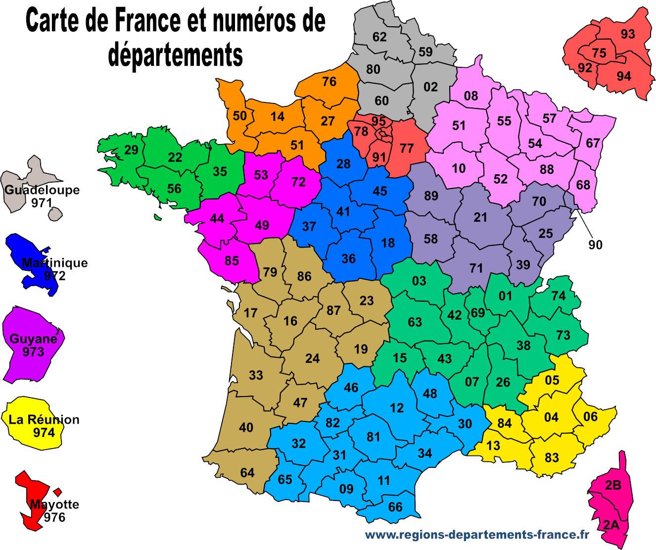 Numéro De Département : Liste Et Carte Récapitulative intérieur Liste Des Régions De France