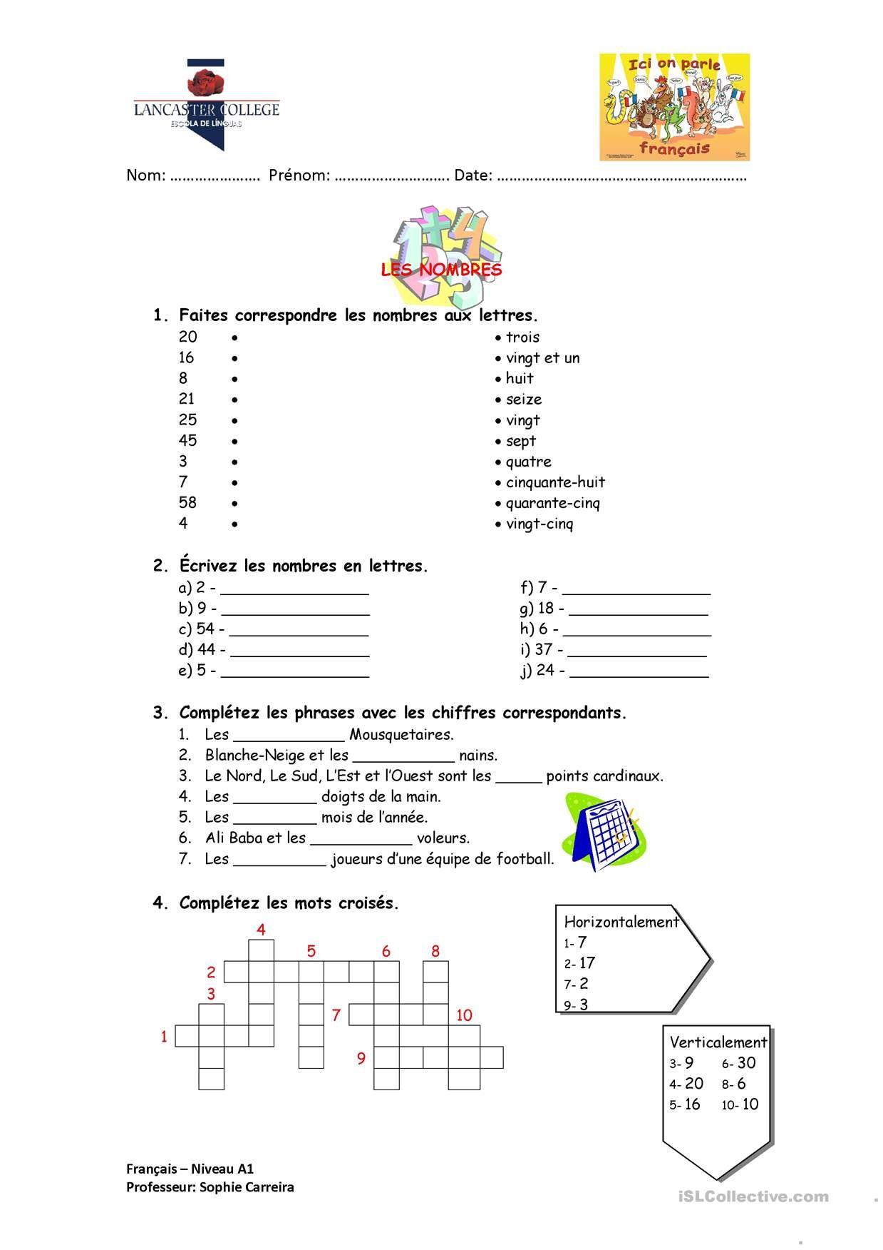 One-Click Print Document | Les Nombres En Lettres, Les tout Nombres En Lettres Ce1