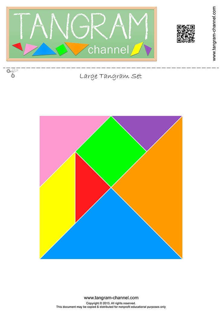 One Set Of Tangram Pieces - Free Printable Template tout Pièces Tangram