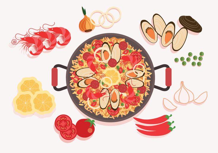 Paella Ingrédients Vector   Art Appliqué, Illustration avec Dessin Paella