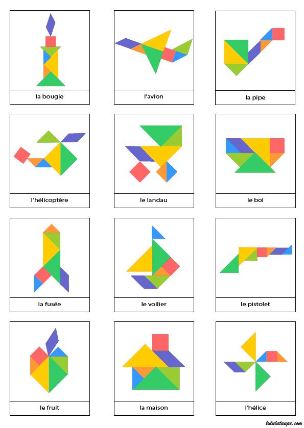 Page De Modèles D'Objets À Réaliser Avec Un Jeu Tangram pour Modèle Tangram À Imprimer