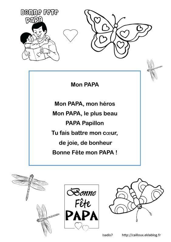 Papa Papillon - La Maternelle D'Isadis7   Poème Fête Des serapportantà Poème Fête Des Pères Maternelle