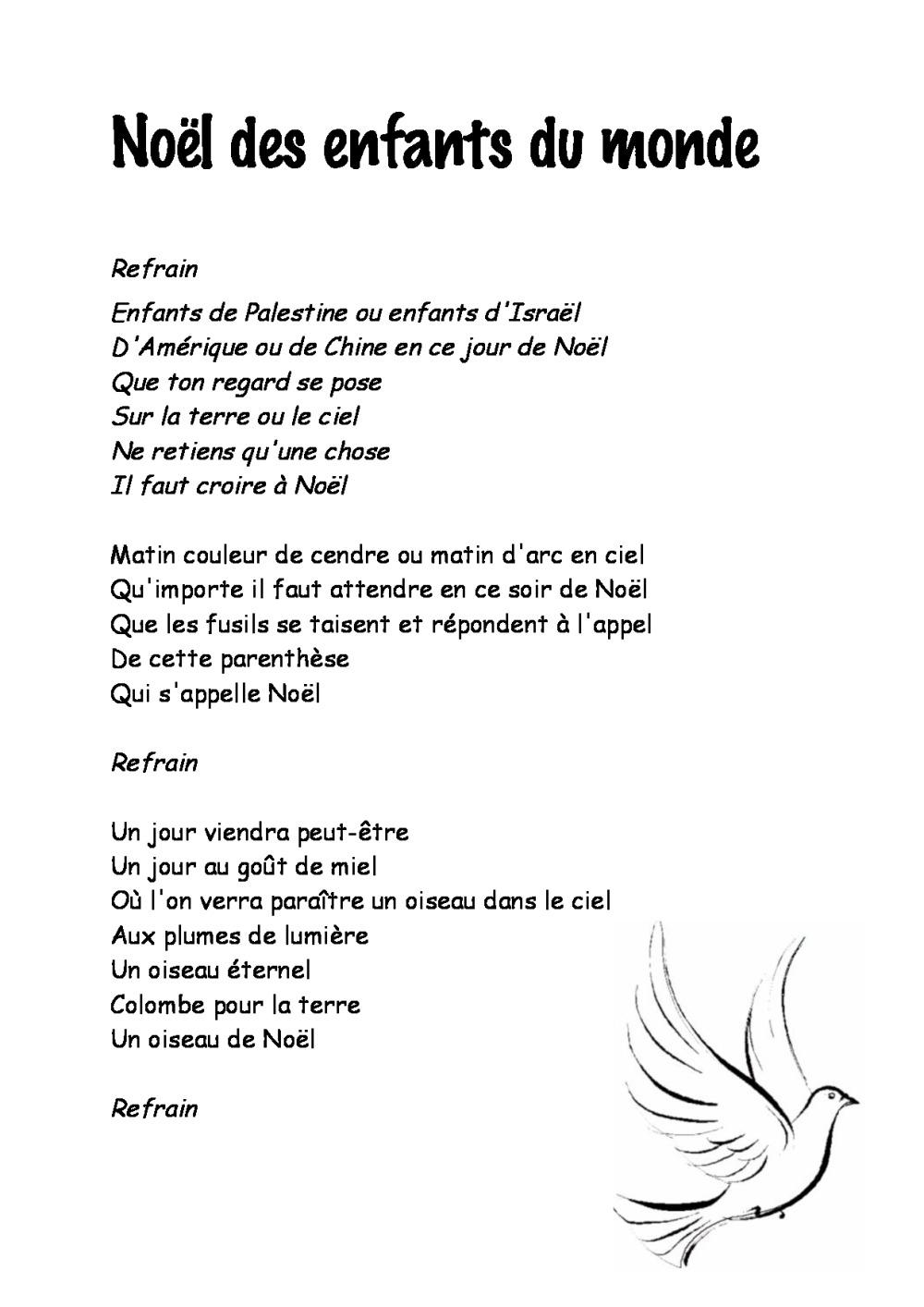 Paroles Chansons De Noël | Bdrp encequiconcerne Parole Le Monde