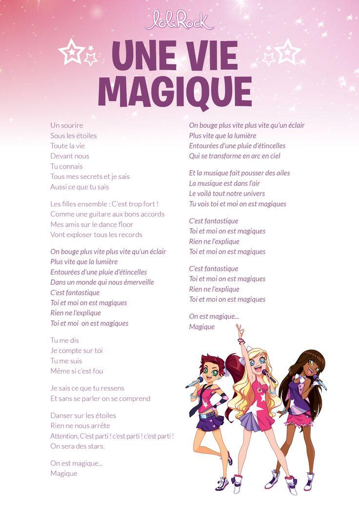Paroles Une Vie Magique | Parole, Parol, Songs tout Paroles De Lili