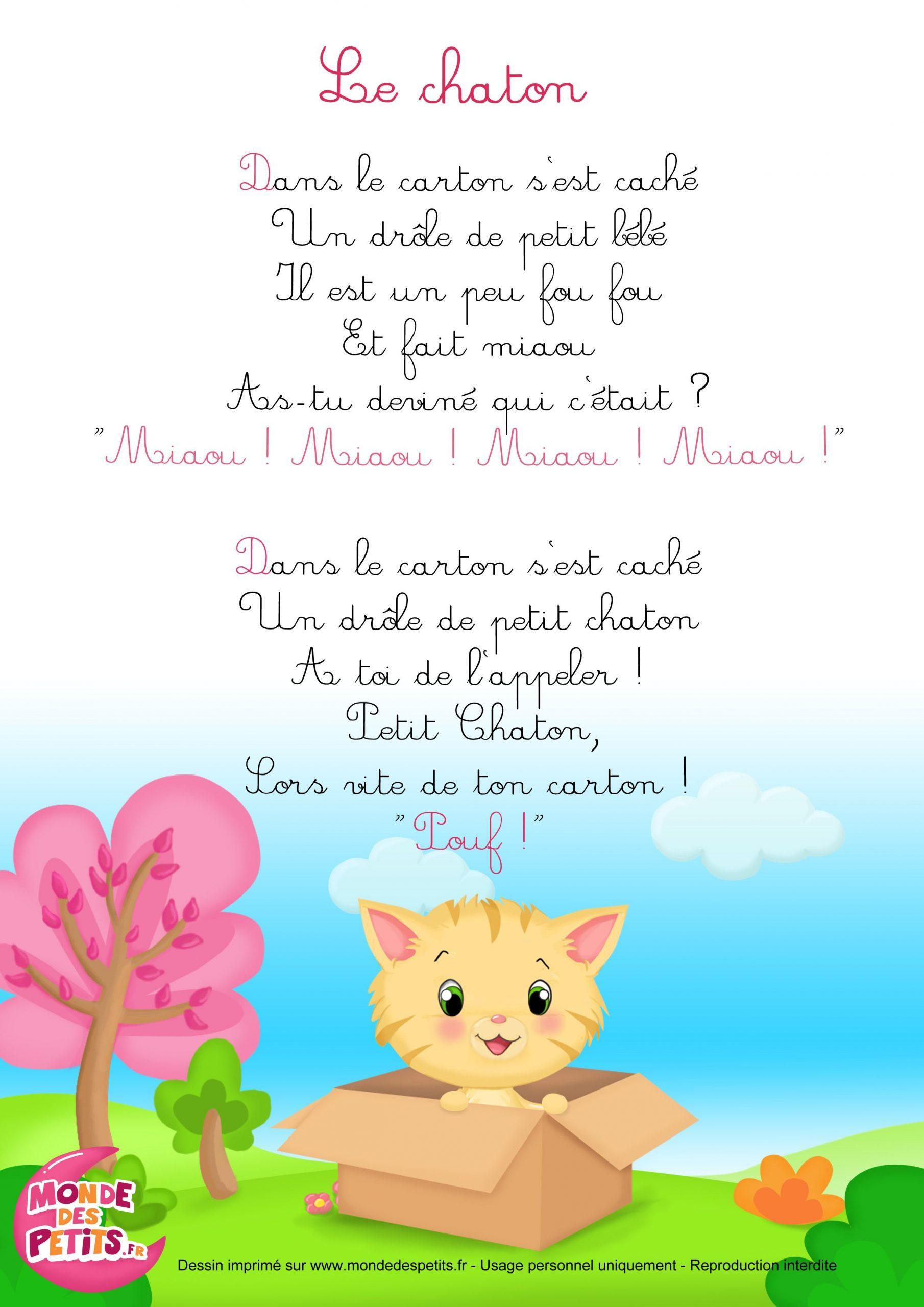 Paroles_La Comptinette Du Chaton - Comptines À Gestes dedans Petit Éléphant Chanson