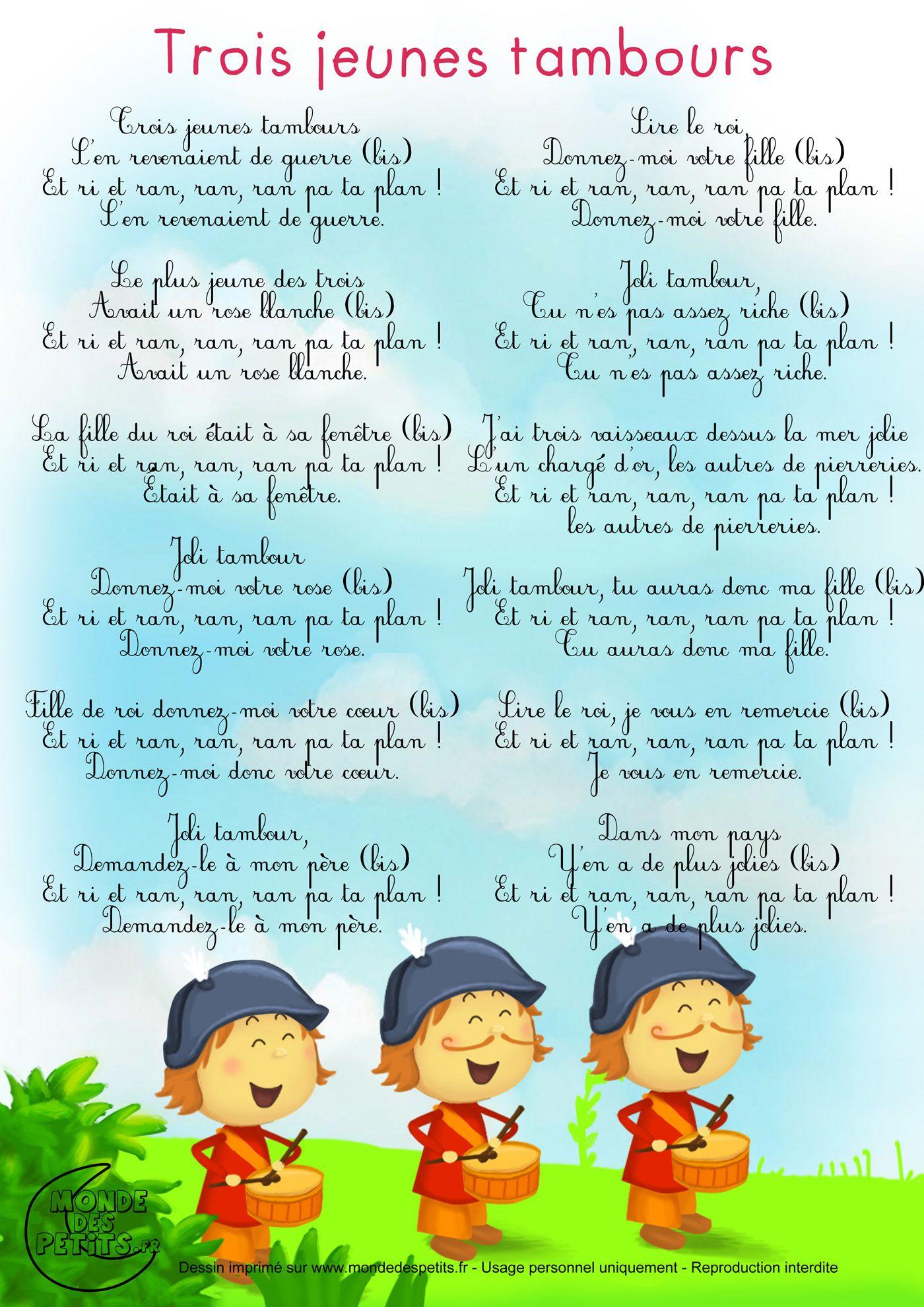 Paroles_Trois Jeunes Tambours … (Avec Images)   Comptines pour Paroles Ani Couni