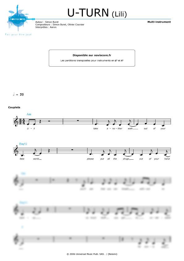 Partition Piano Aaron Lili dedans Paroles De Lili