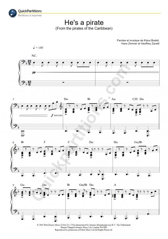 Partition Piano He'S A Pirate (Pirates Des Caraïbes avec Musique De Pirate