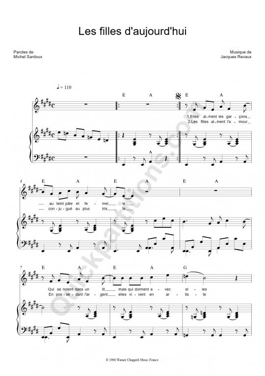 Partition Piano Les Filles D'Aujourd'Hui - Michel Sardou à Aujourd Hui Paroles