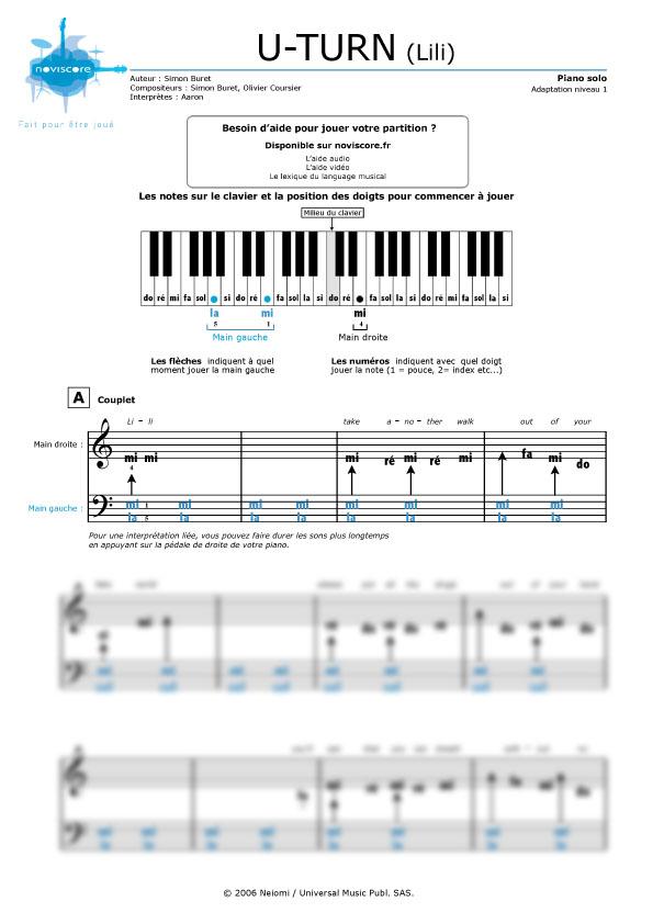 Partition Piano Lili Aaron pour Paroles De Lili