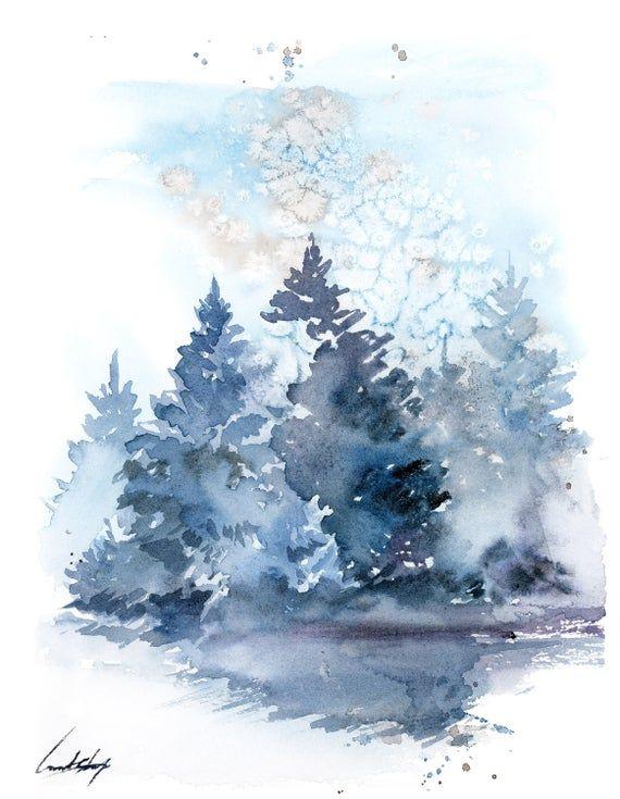 Peinture De Paysage D'Arbres De Pin, Peinture Originale D tout Dessin De Paysage D Hiver