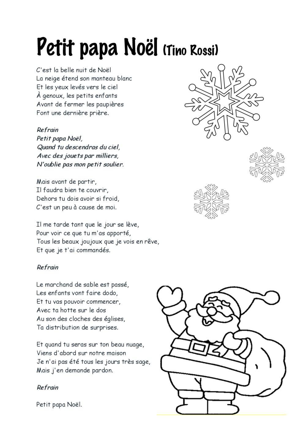 Petit Papa Noel Paroles A Imprimer intérieur Le Père Noël Est Enrhumé Paroles