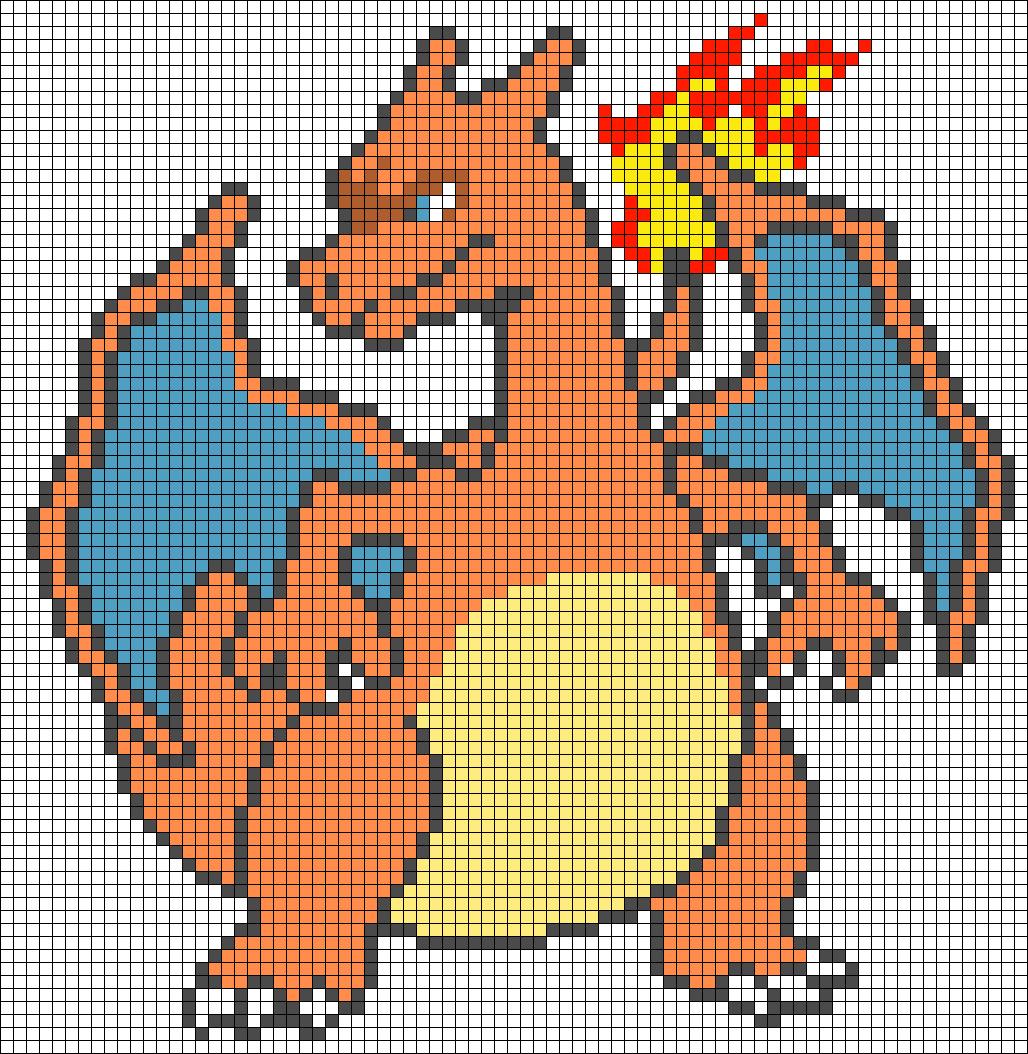 Pixel Art Pokemon Dracaufeu : +31 Idées Et Designs Pour avec Pixel A Colorier