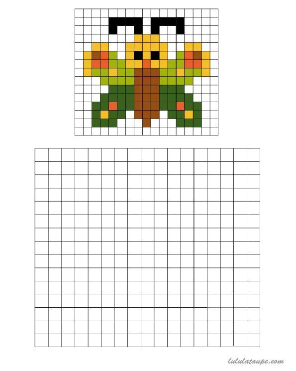Pixel Art, Un Papillon À Colorier Sur Une Grille, #Art # avec Pixel A Colorier