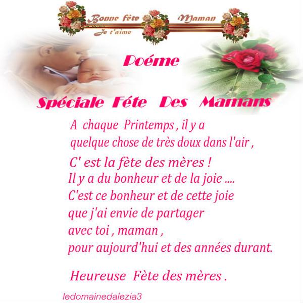 Poeme Bonne Fete Maman destiné Poeme Fete Des Mere