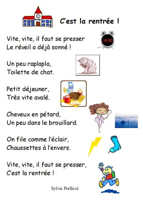 Poeme C'Est La Rentree serapportantà Poésie Jour De Rentrée