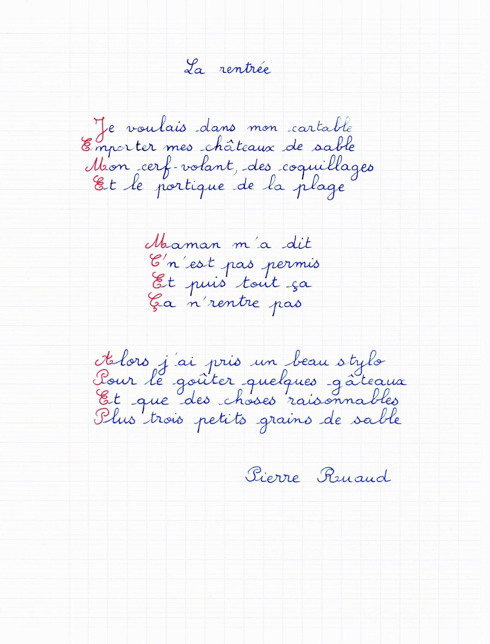 Poème De Cartable, De Stylo, De Gâteaux, De Grains De à La Rentrée De Poème