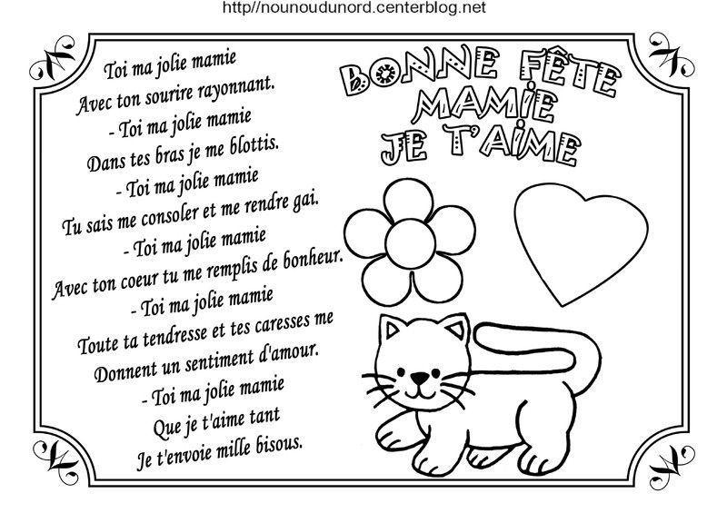 Poème Pour La Fête Des Mamies Écrit Par Nounoudunord avec Coloriage Pour La Maitresse