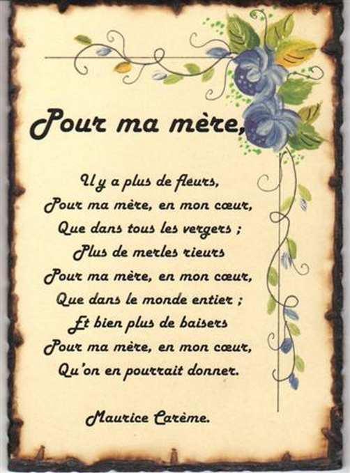 Poème Pour La Fête Des Mères intérieur Poeme Pour Fete Des Mere