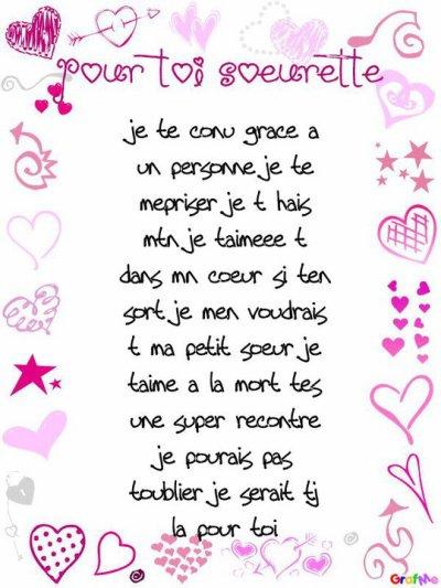 Poeme Pour Toi La Meilelur D Petite Soeur - Ma Soeur De encequiconcerne Poeme Pour Ma Mere